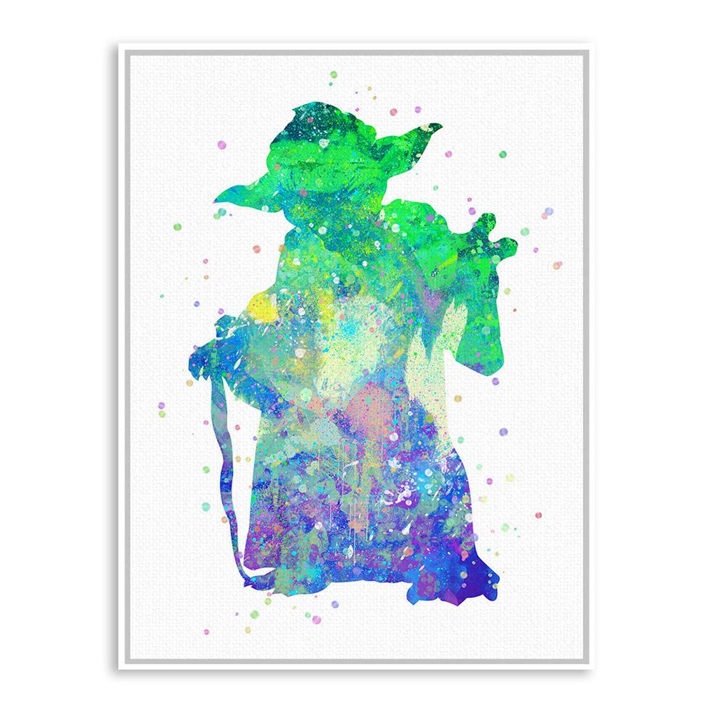 Original Watercolor Star Wars Yoda Pop Movie A4 Huge Art Print ...