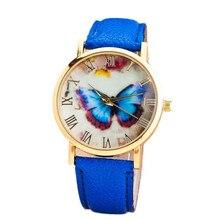 Relojes Mujer 2017 Fashion Women Girl Dress Bracelet Watch Quarzt Clock Butterfly Style Leather Band Analog Quartz Wrist Watch