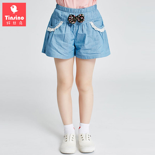 5b72f99f02 Tinsino Children Girls Clothing Casual Denim Skirt Pants Kids Girl Summer  Jeans Shorts Girl's Fashion Skirts With Bow Lace