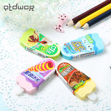 2PCS New Fashion Cute Ice Cream Eraser Rubber for Students Kids Gift School Supplies