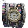 JH Marca tradicional nacional de largo cinturón de tela creativo Reloj de Pulsera hombre relojes de lujo de Las Señoras Mujeres de La Manera de Cristal Redondo