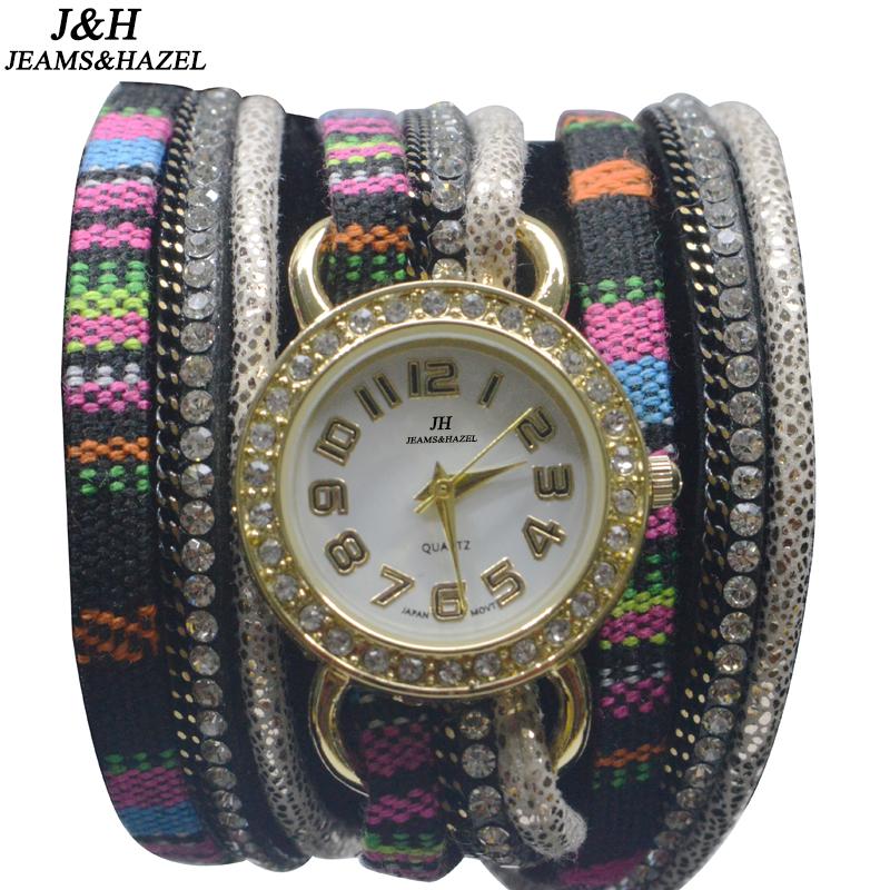 Prix pour JH Marque traditionnelle nationale à long tissu ceinture creative Montre Bracelet mâle montres de luxe Dames De Mode Femmes En Cristal Rond