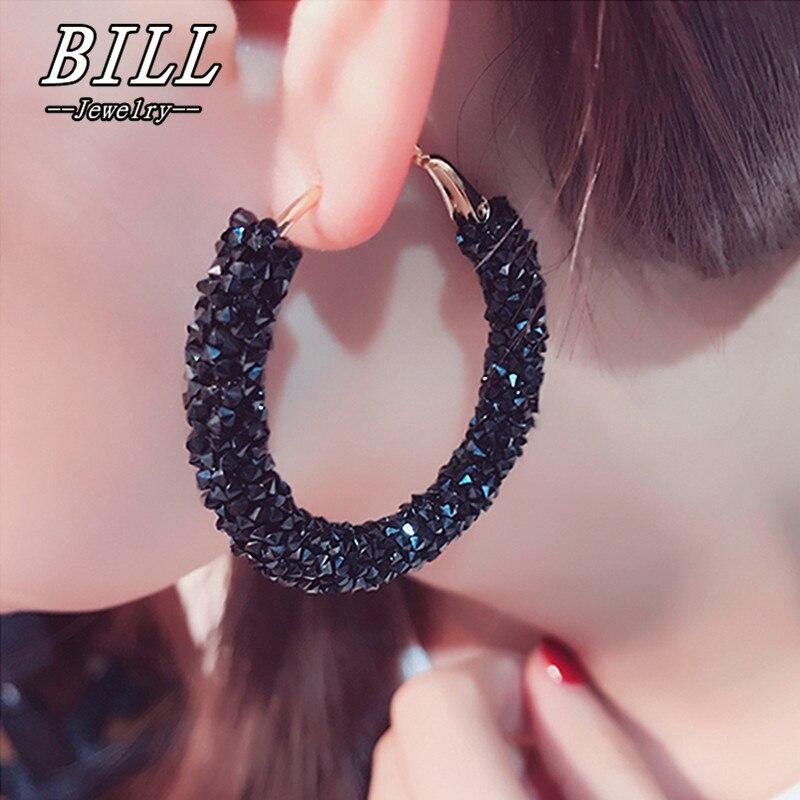 Женские большие серьги-кольца с кристаллами в стиле панк, модные ювелирные украшения, геометрические круглые серьги, европейские серьги