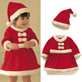 New Baby Christmas Outfits Fashion Two Piece Girls Christmas Dress And Hat Red Santa Christmas Pajamas Roupas Infantis Menina