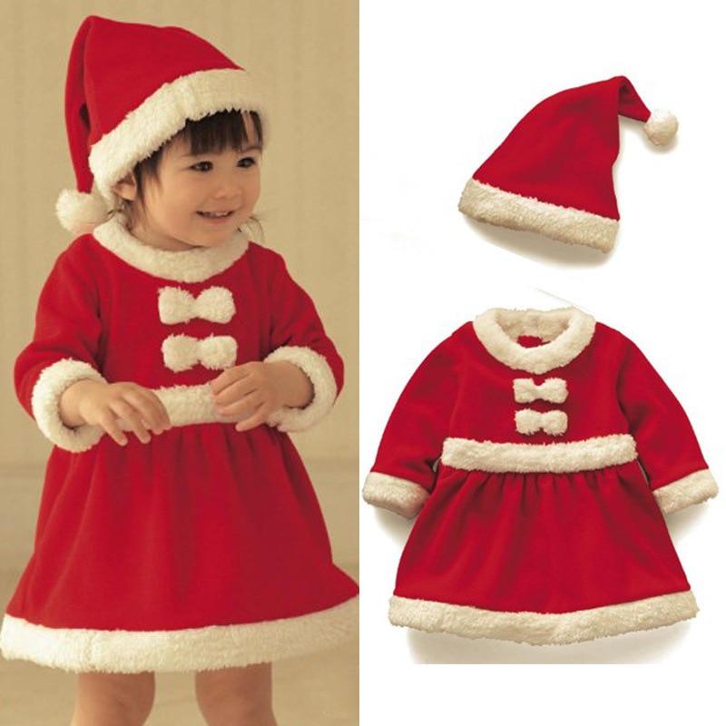 New Baby Christmas Outfits Fashion Two Piece Girls Christmas Dress And Hat Red Santa Christmas Pajamas Roupas Infantis Menina