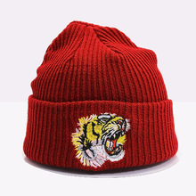 Cotton Beanie Hats Tiger-Cap Embroidery Scarf Couple Skullies Knitted Gorros Wool Winter Warm