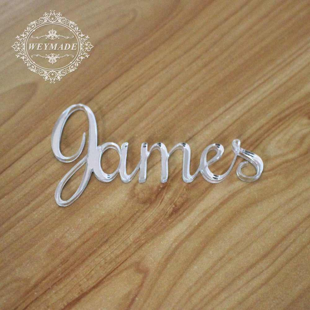 Personalized Laser Cut Guest Name Place Name Setting Silver / Gold Mirror Acrylic Place Card Decor Wedding Party Centerpiece