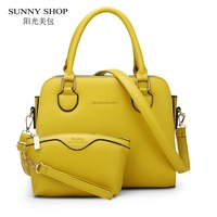SUNNY SHOP 2 Bag Set European American Style Small Women Shoulder Bags High Quality Leather Women