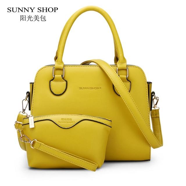 Sunny shop 2 bag/set estilo americano europeo mujeres pequeño hombro bolsas de alta calidad mujeres bolso de cuero y bolso para las niñas