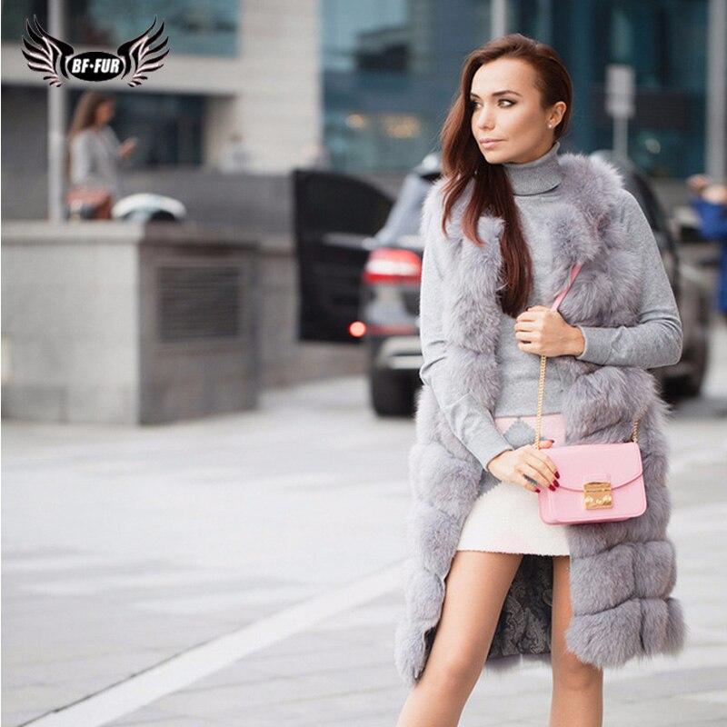 2019 Women Fashion Real Fox Fur Vest Winter Natrual Fur Female Silm 90 Cm Long Fox Fur Vest Squared Sleeveless Jakcket