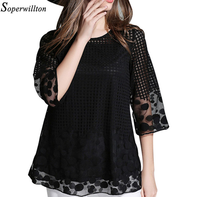 35f75d6266aa88 Soperwillton 2019 Plus Size Crochet Mesh Shirts Elegant 3/4 Sleeve Hollow  Out Women Blouse Shirt Summer Tops Lace Blouses #B840