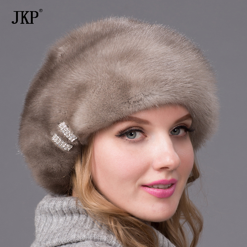 Real mink fur hats winter women hats with diamond Brown mink Beanies mink fur beret Russia good quality fur fashion hat dhy 53