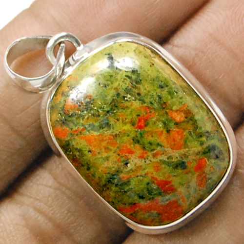 Hand make Genuine Unakite Pendant 100% 925 Sterling Silver Jewellery 42mm 12.6g AP0405