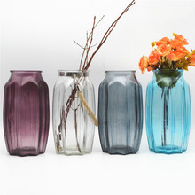 Stained Glass Vase Modern Simple Transparent Flower vase Creative Home Decoration Art arrangement A
