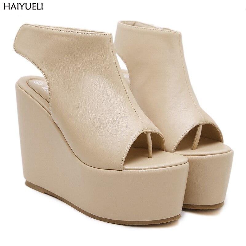 Women Shoes Sandals Women Thick Bottom Platform Wedge Heel Shoes 2018 Woman Summer Sandals Open Toe High-heeled Shoes 2016 new summer pep toe woman sandals platform thick heel summer women shoes hook