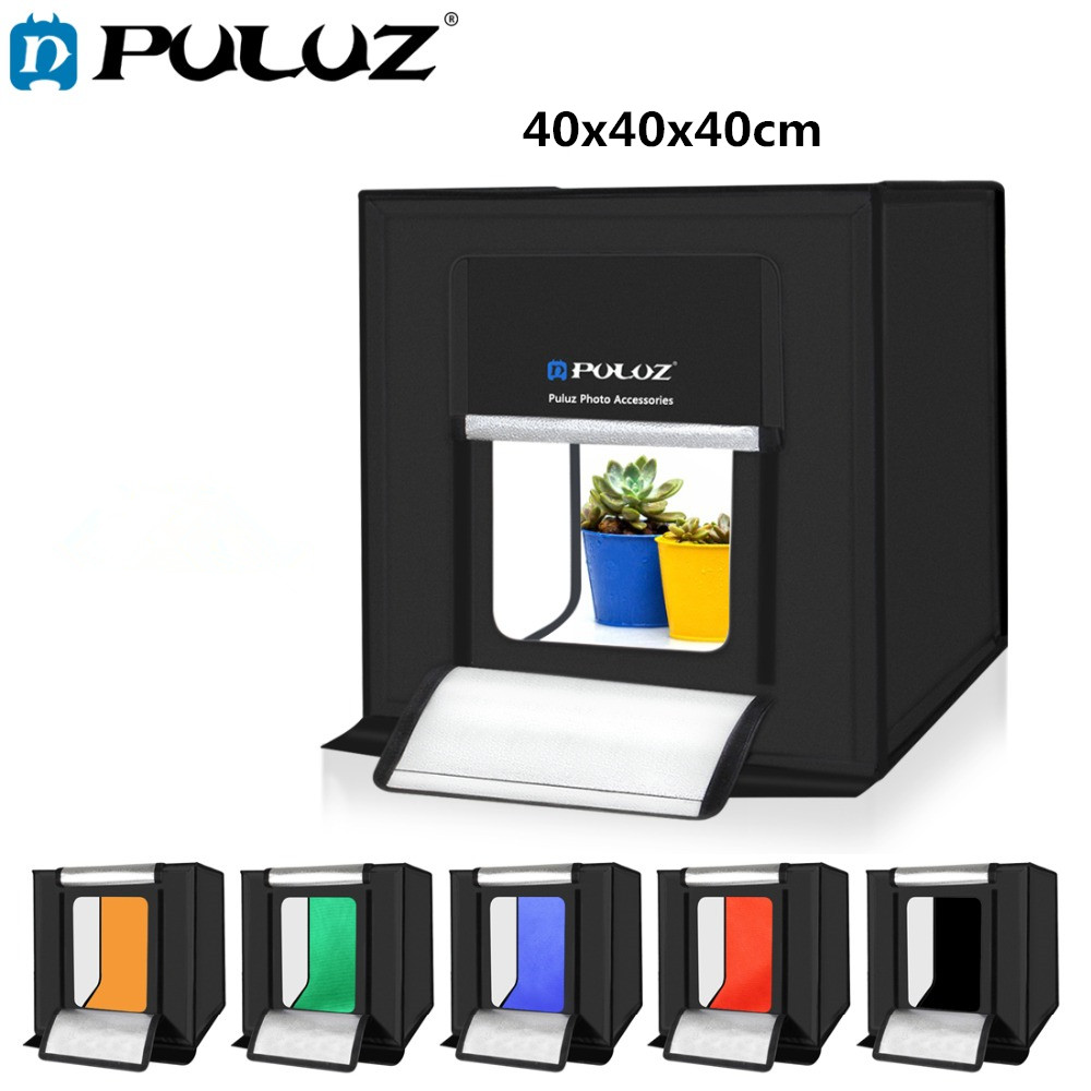 PULUZ 40 40cm Mini Studio Diffuse Soft Box Lightbox with LED Light Tabletop Shooting Photo Studio