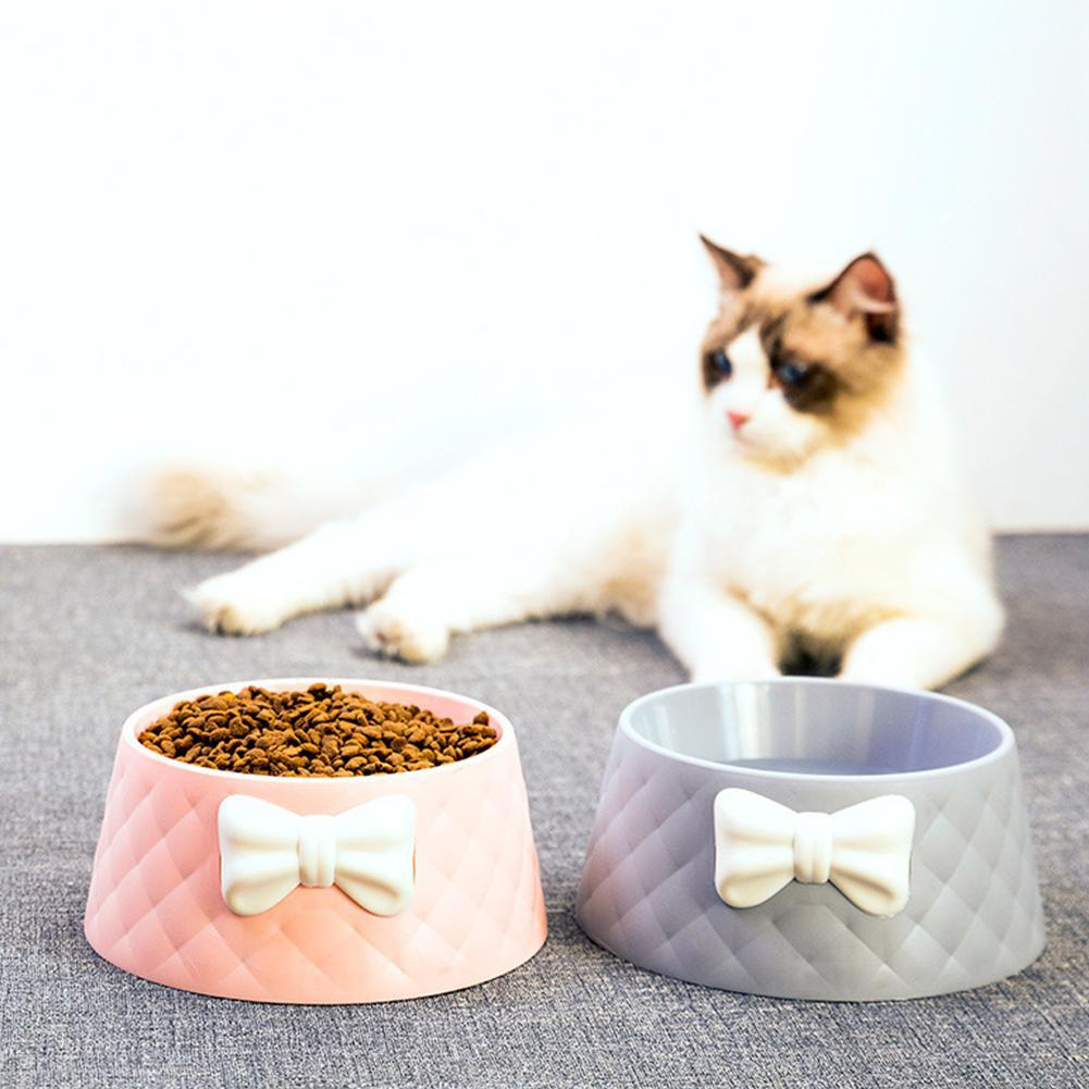 Cute Pet Feeders Bowknot Diamond Pattern Leakproof Bowl for Dog Cat Pets Food Bowls Puppy Water Drinking Bowl Feeding Bowls Cats 4