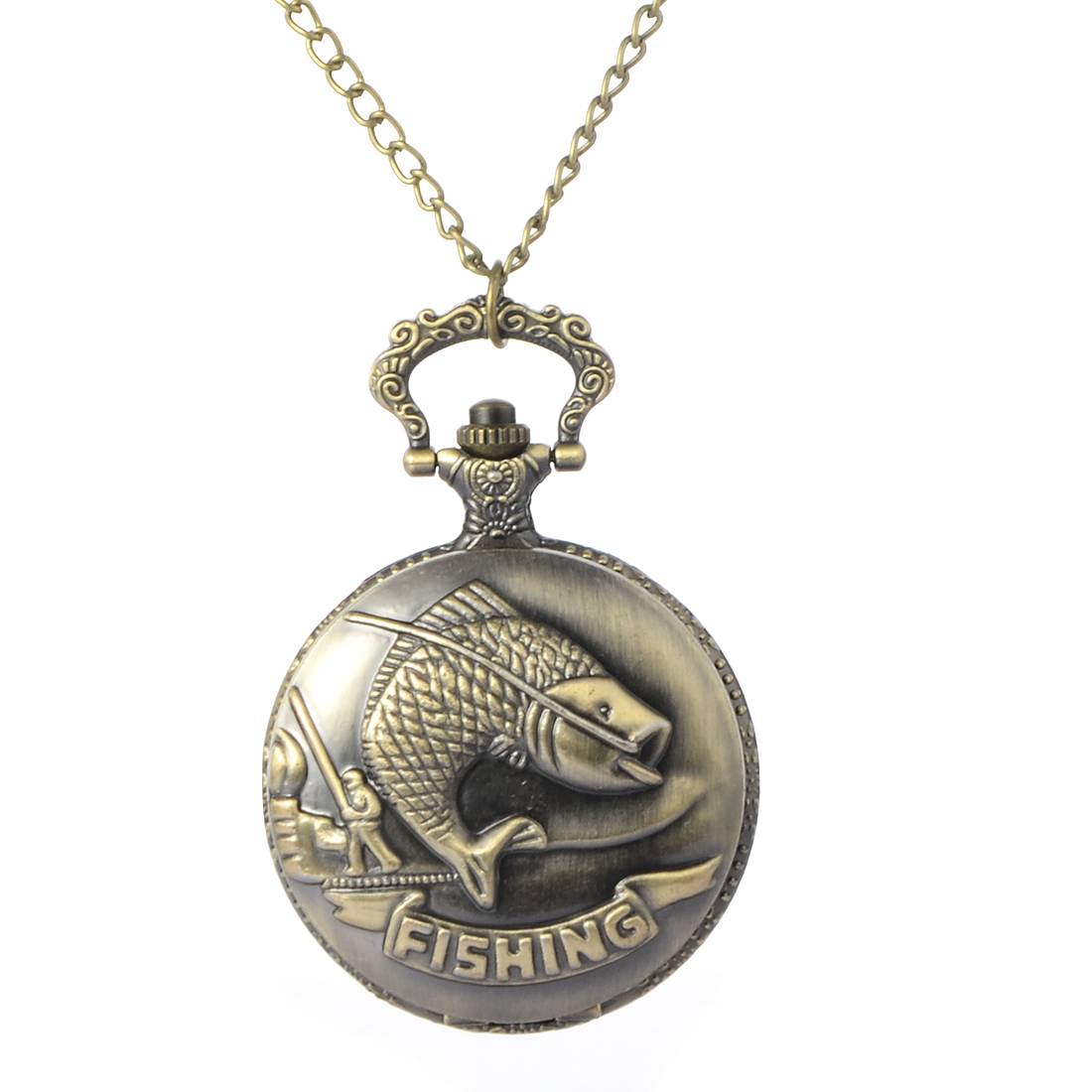 Cindiry New Vintage Bronze Fishing Angling Quartz Antique Pocket Watch for Men and Women P25