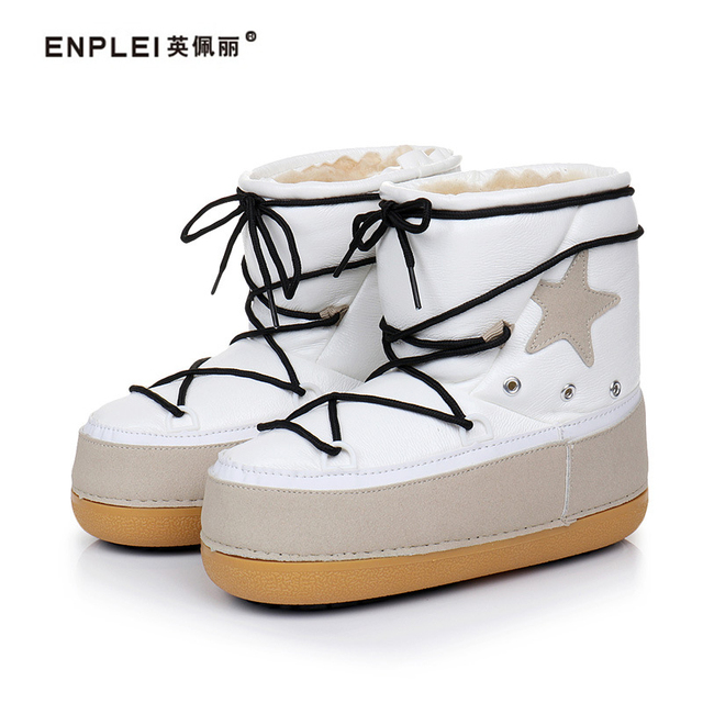 ENPLEI Autumn winter mid-calf boots women s snow boots waterproof ski boots  thick soled space boots 1e56ad8c5ca6
