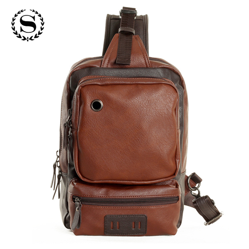 simple design leather zipper bags one shoulder backpack business chest pack with earphone hole casual bolsos hombre ZZ499 global elementary coursebook with eworkbook pack