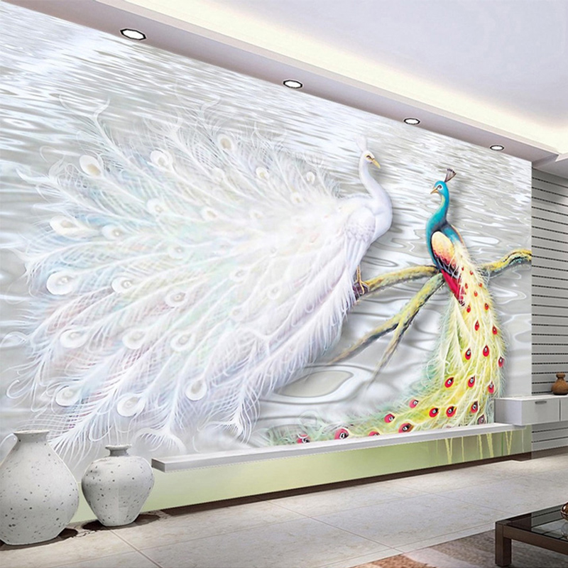 Custom any size 3d wall mural wallpaper peacock large wall for Custom size wall mural