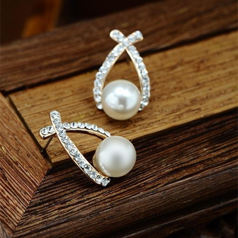 Bijoux fantaisie simulé perle boucles d'oreilles goutte mignon nœud papillon boucles d'oreilles pour les femmes brillant cristal bijoux de mariage élégant 4