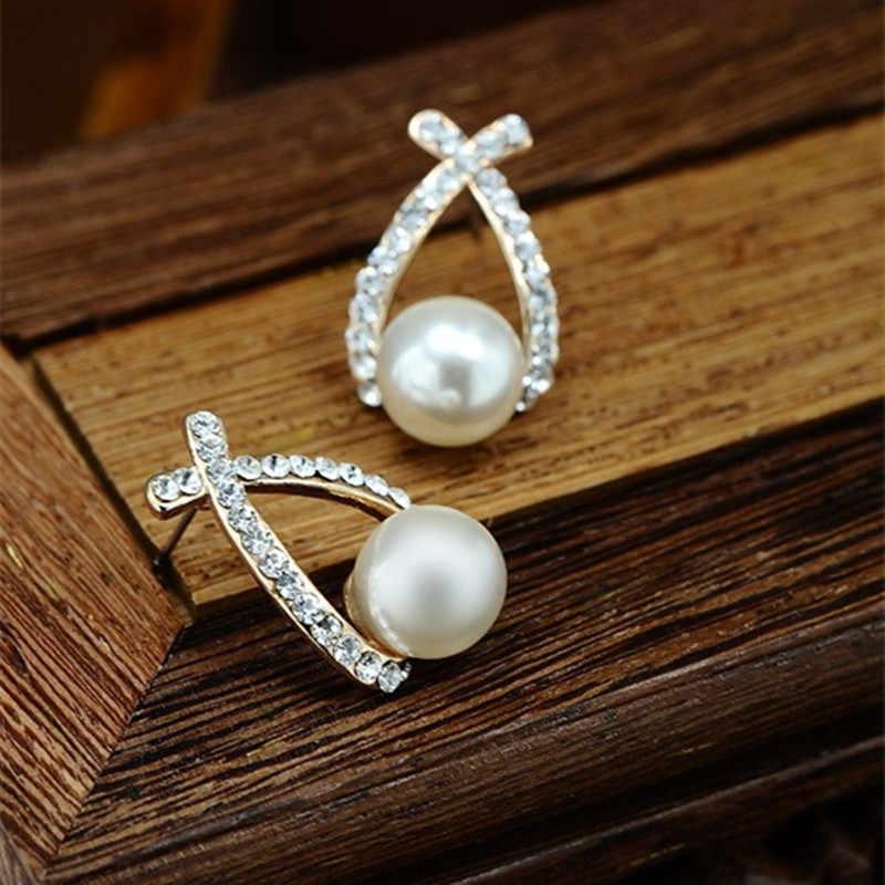 Moda jóias simuladas pérola brincos bonito bowknot balançar brincos para as mulheres de cristal brilhante jóias de casamento elegante