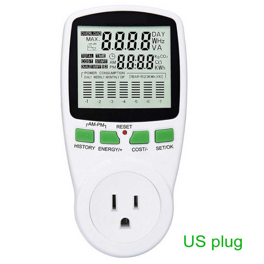 지능형 AC 에너지 전력계 전력계 소켓 EU 미국 FR 영국 전압 전류 주파수 전기 모니터 EU/US/UK 플러그