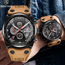 Benyar Watch Men Luxury Top Brand Mens Waterproof Watches Men's Sport Wrist Watch Man Leather Band Clock Relogio Masculino(China)