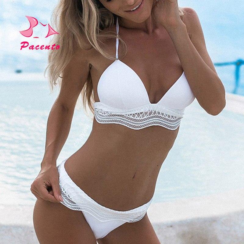 Pacento nuevo encaje blanco sólido Sexy Bikini brasileño Push Up traje de baño playa del bañista bañadores mujeres traje de baño mujer Plavky