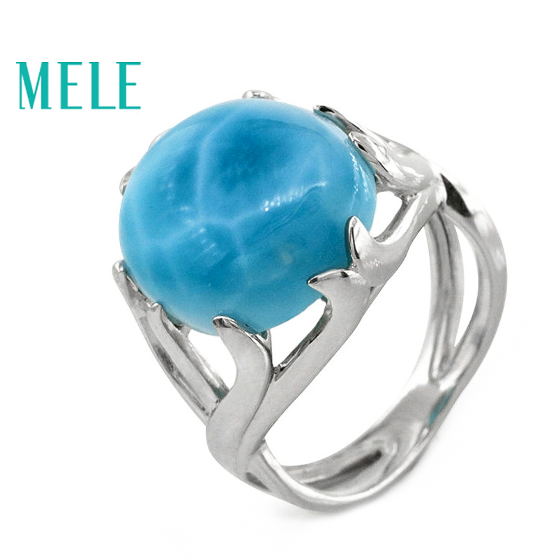 Top qualitr natural larimar 925 sterling silver rings for women and man big oval gemstone with