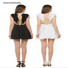 Sexy Backless Lace Up Summer Angel girl women fashion sexy V lead angel wings beach small Black and white condole belt dress