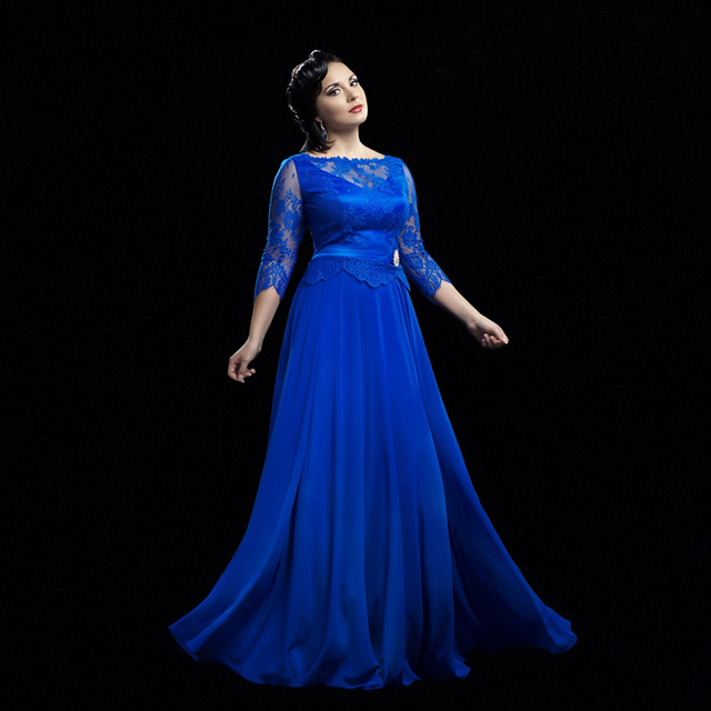 Robe De Soiree Fashion Women Dinner Dress Long Evening Gowns Elegant Royal Blue Lace Sleeve