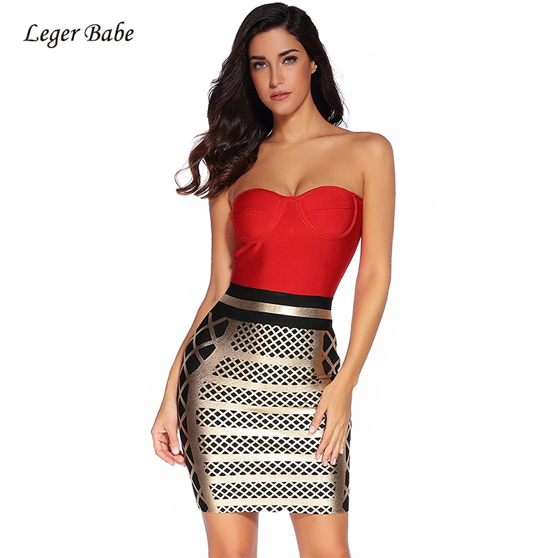 Leger Babe 2019 Sexy Strapless Women Bandage Dres Fashion Nova Red and Gold  Foil Printing Prom 022fd8dadeb3