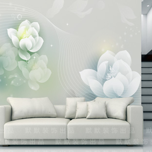 Customized Large Mural Wallpaper TV Wall Background 3d Stereoscopic Video Type Paper Living Room Bedroom Zen Such As Lotus