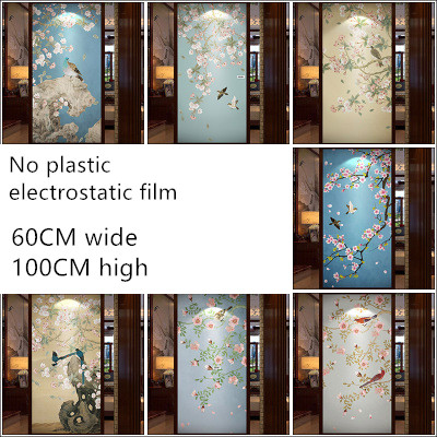 60X100cm Custom Static glass film sliding door closet door sliding door renovation stickers birds and flowers series ...