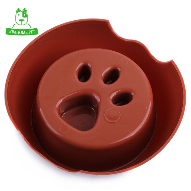 4 Color Cute Pet Feeding Bowl for Dog Cats Plastic Paw Print Slow Feeder Bowl S M