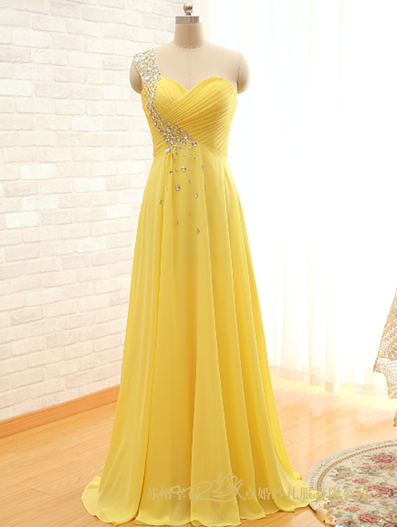 New arrival sexy party High waist yellow Empire Pregnant woman dress Bridesmaid Dress For Wedding party