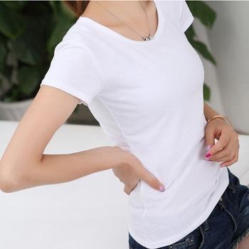Basic T-Shirt Women Short Sleeve O-Neck Casual Camiseta Feminina Black White Summer Solid Color T Shirt Slim Tee Shirt