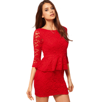 Red Lace O Neck Half Sleeves Sheath Deep V Back See Through Sexy Mini Dresses Casual