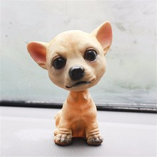 Car Ornament Nodding Dog Car Auto Dash Rocking Head Dog Natural Resin Dog Toy for Car