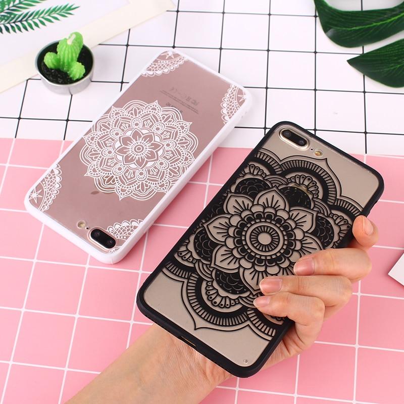 For iPhone 7 7 Plus Case Luxury Matte Hard PC Mandala Flower Cover For iPhone 6 6S Plus Case For iPhone 8 8 Plus X Black White