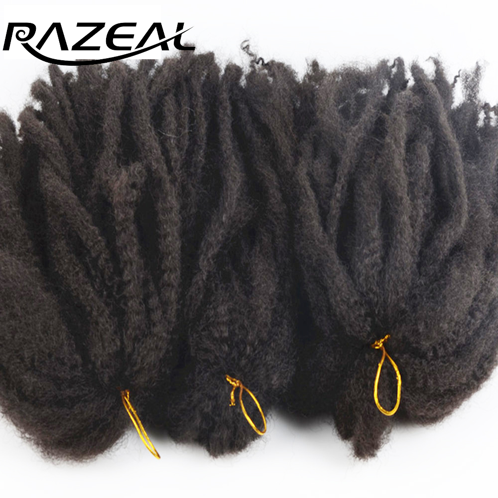 Razeal 100g Afro Kinky Marley Braid Hair Braiding Hair Crochet Braids Synthetic Braiding Hair Extentions High Temperature Fiber