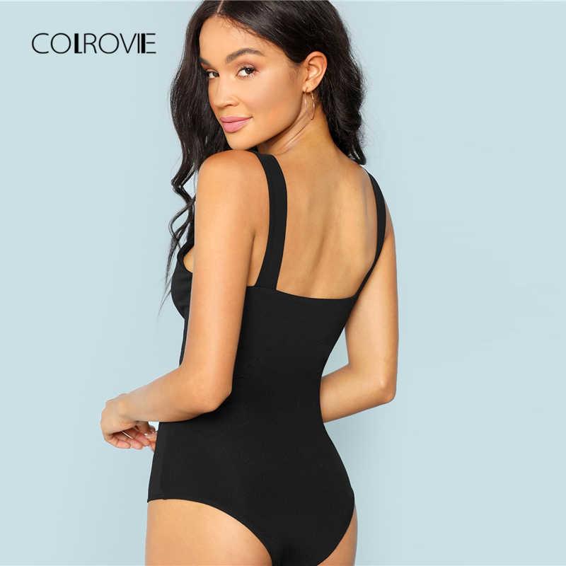 COLROVIE/черная Повседневная однотонная узкая футболка с v-образным вырезом спереди, сексуальный боди, Женская Осенняя офисная Дамская обувь на бретелях, базовые женские боди