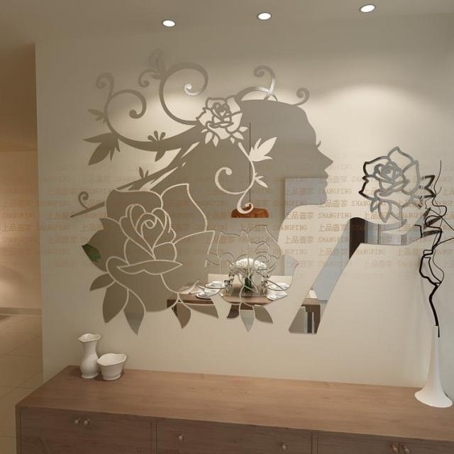 New 2016 3d girls princess flowers wall stickers three dimensional cartoon acrylic mirror surface wall