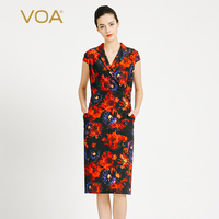 VOA 2017 Summer Silk Print Office Dress Women Fashion Short Sleeve Notched Collar Vintage Elegant Slim