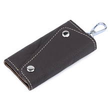 купить New Vintage 100% Genuine Leather Key Wallet Women Keychain Covers Zipper Key Case Bag Men Key Holder Housekeeper Keys Organizer по цене 494.99 рублей