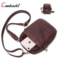 CONTACT'S multifunction small summer crossbody bag men shoulder messenger bag with phone pocket leather waist pack mini male bag