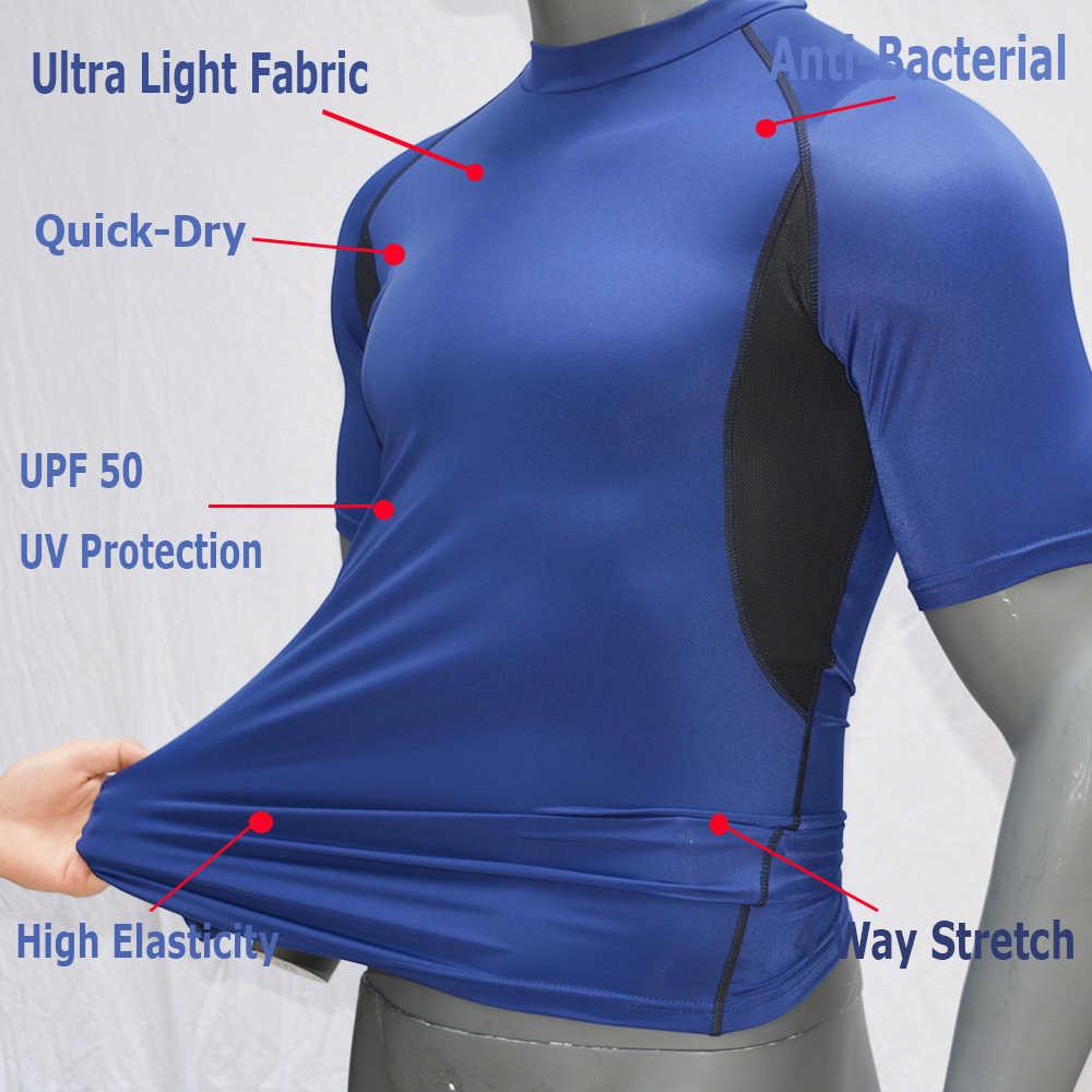 Warna Biru-Lengan Pendek Surf Ruam Penjaga UPF 50 Renang/Surfing K Berlaku Dry-Fit Menyelam T Shirt snorkeling Kemeja Baju Renang 2019