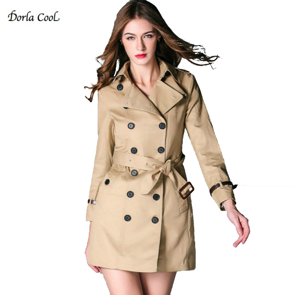 Dorla Cool Women s Trench High Quality Luxury Coat 2017 British Vintage Style Designer Trench Outerwear